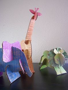 recycled cardboard animals (template). Would be great as large sculptures