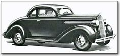 1936 DODGE, D-2: By the end of the 1936 model year, 265,005 Dodges had been shipped, a rather remarkable recovery from the days of the mid-Depression only five years before. The D-2 had a new steel top that blended smoothly into the roof surface and also was wired for a radio antenna.