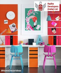 #Color is a useful tool for differentiating a space. If you're working side by side, stay consistent but invite in different colors to give the space some personality. #HomeDecorIdeas #RadheDevelopers