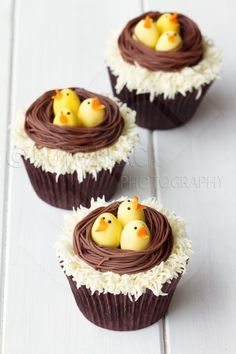Easter chicks nest cupcakes