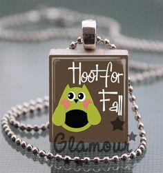 Hoot For Fall Scrabble Tile Pendant Necklace Autumn Owl Jewelry | c0nfus3dgurl - Jewelry on ArtFire