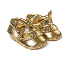58fe9cf8cf6f Moccasin Newborn Slip-on First Walker. Gold Baby ShoesNew ...