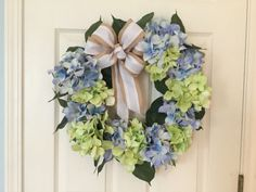 SUMMER WREATH Blue and green hydrangea