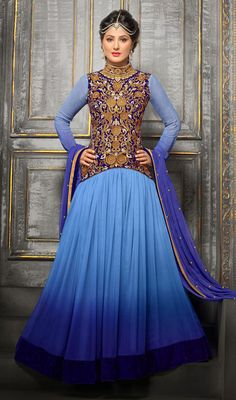 Add allure to your personality wearing this blue shade georgette embroidered long Anarkali suit. Beautified with resham and stones work. #AwesomeCasualWear