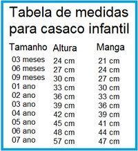 Tabela de tamanhos para casaquinhos de bebê