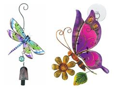 Regal Art and Gift Butterfly Sun Catcher and Dragonfly Ornament with Bell Bundle for Home Garden Window and Wall Art -- Continue to the product at the image link. Butterflies Flying, Beautiful Butterflies, Mosaic Crafts, Bead Crafts, Dragon Fly Craft, Painted Rocks, Hand Painted, Butterfly Pictures, Dragonfly Tattoo