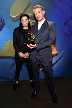 Best Dance/Electronic Album winners Skrillex and Diplo backstage at the 58th Annual GRAMMY Awards on Feb. 15 in Los Angeles