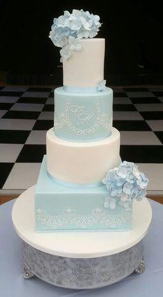 Pale blue cake  | baby blue and white wedding cake | wedding cake