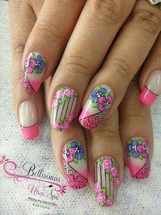 Short Nail Designs, Nail Art Designs, Nails Design, Cute Nail Art, Cute Nails, Beauty Makeup, Hair Beauty, French Tip Nails, Creative Nails
