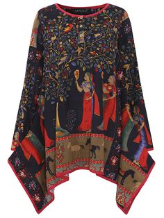 Gracila Ethnic Printed Long Sleeve Button Vintage T-shirts For Women