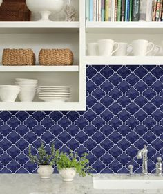 Cobalt Blue Arabesque Lantern Tile. Old World Tiles oldworldtiles.com.au