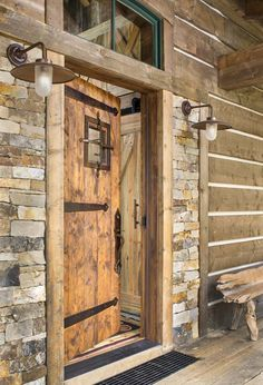 A Colorado ranch style home is a haven of rustic warmth & Old log cabin doors | There were no guides to regale with facts and ...