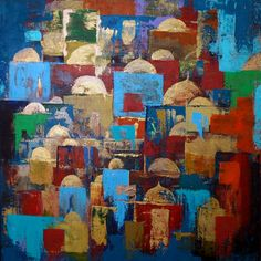 Domed dwellings - Original Abstract Painting - The Global Art Company Selling Art Online, Gcse Art, Global Art, Islamic Art, Canvas Size, Diy Design, Original Artwork, Sculpture, Abstract