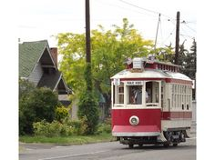 Trolley wanders through Old Residential Area in Yakima, Washington