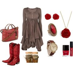 """A Pop of Red"" by candysc on Polyvore"