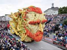 """.Every September, people from all over the Netherlands gather in the town of Zundertto watchextravagant dahlia-covered floats parade down the streets for the """"Bloemencorso Zundert,"""" an annual parade celebrating the region's many varieties of dahlias. This year,the 19 teams competing for the best and brightest display honored the town's most famous son, Vincent Van Gogh"""