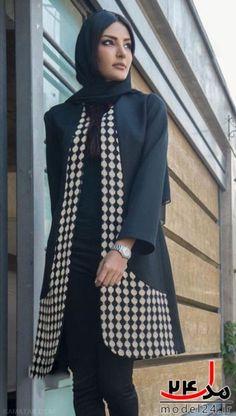 مانتو Batik Fashion, Abaya Fashion, Skirt Fashion, Fashion Dresses, Iranian Women Fashion, Islamic Fashion, Muslim Fashion, Mode Abaya, Mode Hijab