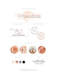 Branding package - Logo Package - Rose gold Logo - Wedding planner Logo - Blog Logo - Logo set - Peach pink logo - For any business by PrintablePixel on Etsy