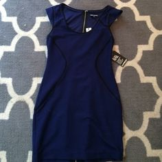 NEW with TAG express dress New with tags express dress perfect for a Christmas party, blue with black, stretch and pretty  Express Dresses Mini