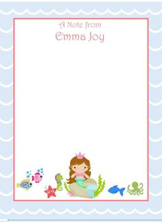 A personal favorite from my Etsy shop https://www.etsy.com/listing/265426451/mermaid-flat-stationary