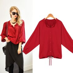 >> Click to Buy << 2017 New Women Summer Autumn Casual Elegant Basic Chiffon Red Top Blouse Bandage Blusas lace-up Fashion Loose Plus Size XL~5XL #Affiliate