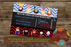 Princess and Villain Halloween Party by InvitasticInvites on Etsy, $10.00