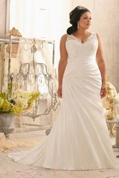 Fit and Flare V Neck V Back Plus Size Wedding Dress