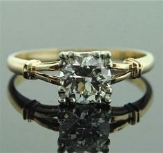 1930S Engagement Ring Square Two Toned 45