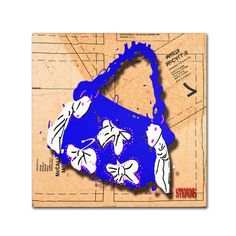 Bow Purse White on Blue by Roderick Stevens Painting Print on Wrapped Canvas