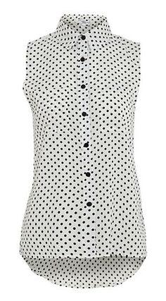 White Polka Dot Sleeveless Blouse @ New Look
