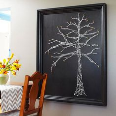 Have a blank wall to fill? Try this fun string wall art project. More DIY wall art projects: http://www.bhg.com/decorating/do-it-yourself/wall-art/wall-art-projects/?socsrc=bhgpin052613string=1