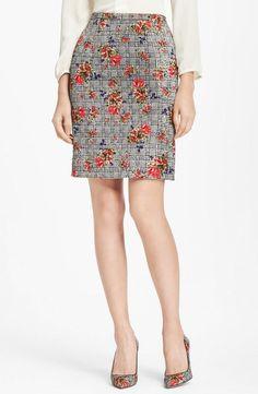 Oscar de la Renta Bouquet Plaid Skirt