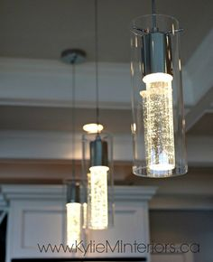 Pendant lighting over the island in the kitchen