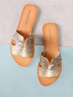 Color: Gold Upper Material: PU Outsole Material: Rubber Toe: Peep Toe Heel Height: Low Heel Accessories: Cut Out Style: Casual Brand: City Classified Flat Sandals Outfit, Cute Sandals, Cute Shoes, Women's Shoes Sandals, Leather Sandals, Me Too Shoes, Heels, Women Sandals, Flat Shoes