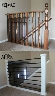 Stair Railing DIY Makeover. This baluster went from old, outdated oak to sleek metal bars with a modern white newel post.