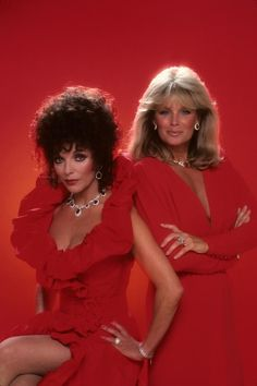 Joan Collins, Linda Evans - Flashy Ladies of the 80s via @The Cut . I am loving Ms. Joan Collins' dress. Yes ma'am!