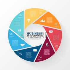 Vector circle infographic. Template for diagram, graph, presentation and chart. Business concept with 7 options, parts, steps or processes. Abstract background. #infographic
