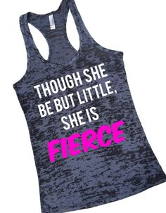 "Cheer Tank Top ""Though She Be But Little She Is Fierce"" Cheerleading Shirt Gymnastics"