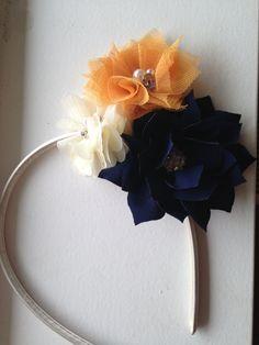 Navy Flower headband - Navy Blue lotus Flower Orange tulle Flower cream mini chiffon Flower on Ivory Hard Headband teen wedding flower girl Ask a Question    $9.00 USD