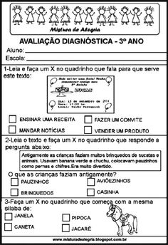Avaliação diagnóstica Teaching, Education, Writing Activities, Reading Activities, Dyslexia, Index Cards, Classroom, Learning, Educational Illustrations