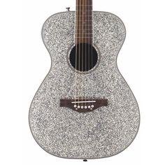 Daisy Rock Pixie Acoustic Guitar, Silver Sparkle