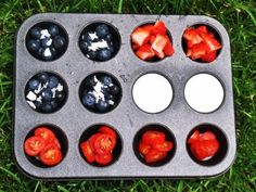 {4th of July Snack} Muffin tin snack collection: blueberries and shaved coconut, strawberries, yogurt, tomatoes