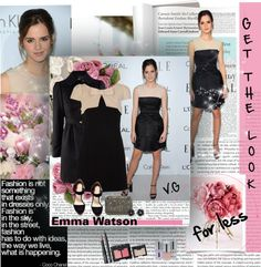 """Get the celebrity look for less #13 Emma Watson's monochromatic look ( The LBD )"" by vassiliki-g ❤ liked on Polyvore"