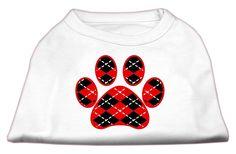 Argyle Paw Red Screen Print Shirt White M (12)
