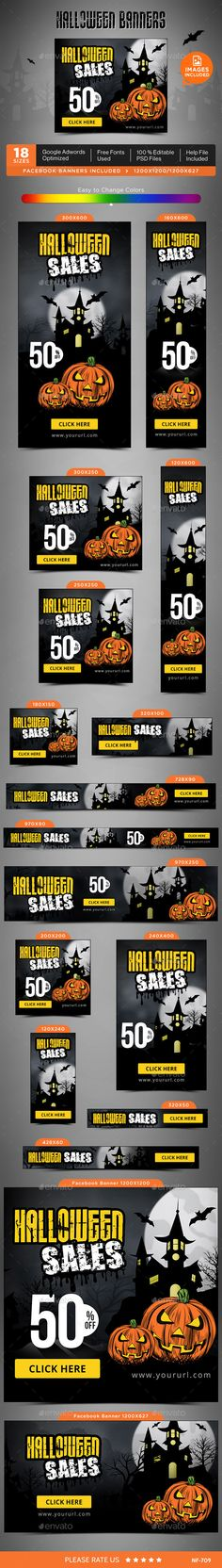 Halloween Web Banners Template PSD #design #ad Download…