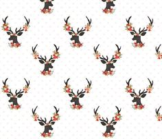Floral Deer with Blush Hearts Quilting Fabric. by JacksonsWovens Woodland Fabric, Woodland Flowers, Valentines For Boys, Quilting Fabric, Deer, Blush, Hearts, Diy Projects, Quilts