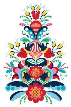 Hanna werning colorful art scandinavian art, scandinavian folk art y folk a Scandinavian Pattern, Scandinavian Folk Art, Scandinavian Tattoo, Scandinavian Embroidery, Norwegian Rosemaling, German Folk, Polish Folk Art, Folk Embroidery, Embroidery Ideas