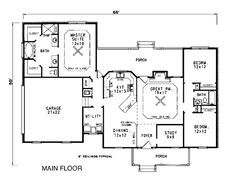 First Floor Plan of Country   House Plan 96525