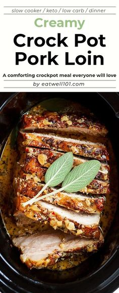 Creamy Garlic Pork Loin in Crockpot - Easy comforting and tender pork loin in crockpot with the creamiest garlic sauce ever. - by Creamy Garlic Pork Loin in Crockpot Keto Pork Loin Recipe, Pork Roast Recipes, Keto Crockpot Recipes, Slow Cooker Recipes, Cooking Recipes, Crockpot Pork Loin Roast, Slow Cooked Pork Loin, Corn Crockpot, Sirloin Roast