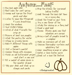 A new bucket list for Fall–some practical, some just fun. A new bucket list for Fall–some practical, some just fun.